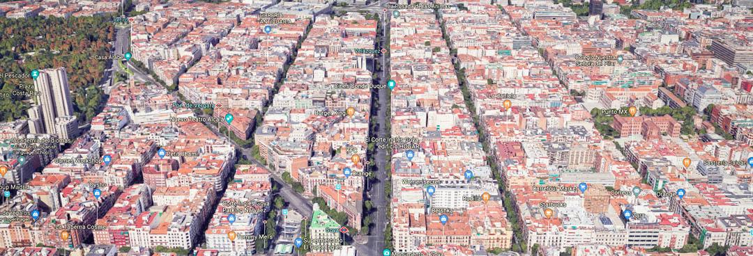 Calle Goya dirección norte, cruce con calle Alcalá - Tipos de calle en Madrid - Primera línea bis
