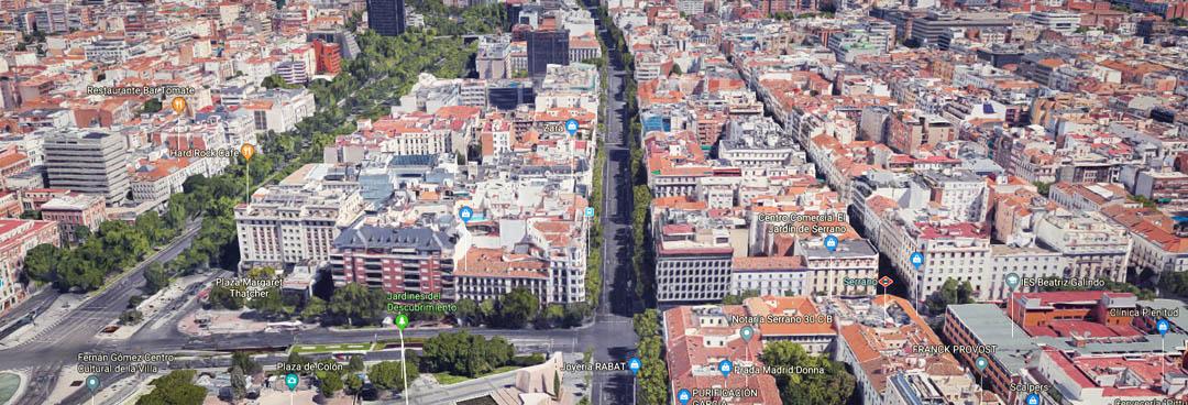 Calle de Serrano dirección norte - Tipos de calle en Madrid - Primera línea o prime